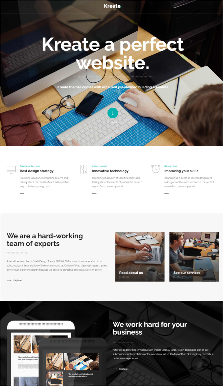 Creative wordpress theme and template