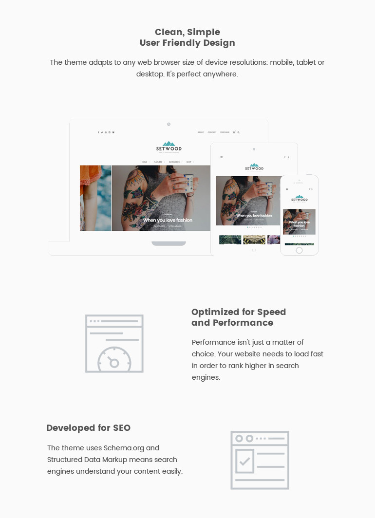 Setwood is a clean user focused WordPress blog and shop theme