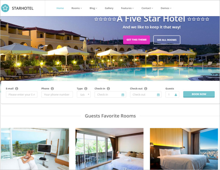 Starhotel wordpress theme and template