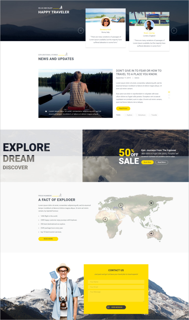 Travel website template and theme