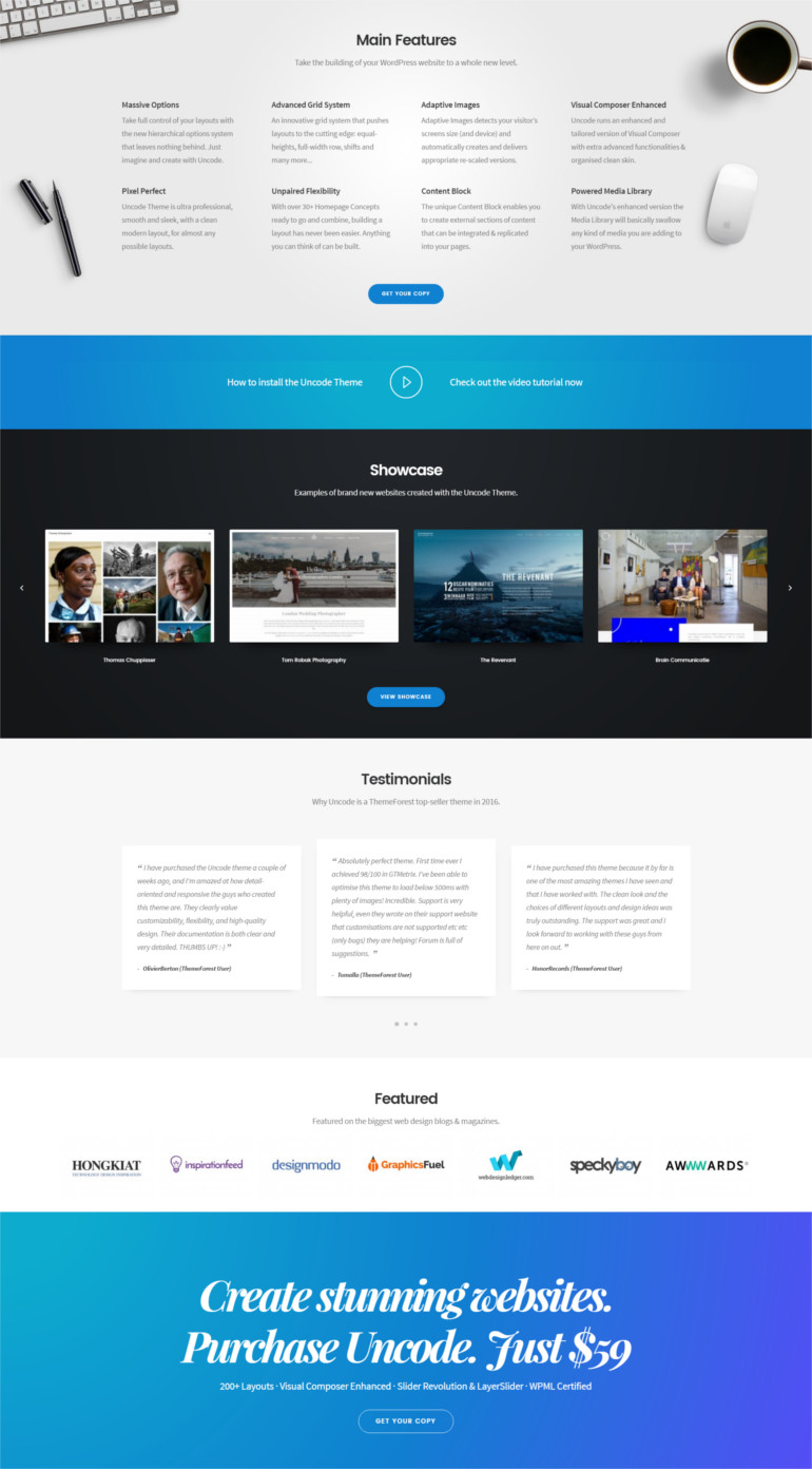 Uncode wordpress theme and template