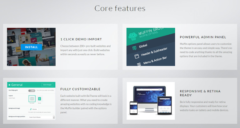features in the betheme and template
