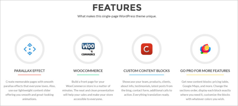features of the free wordpress theme and templates