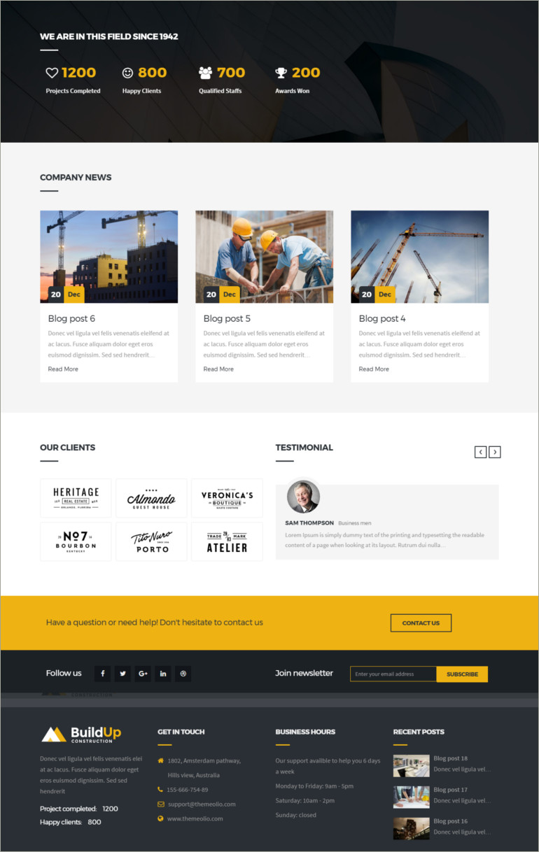 construction company theme