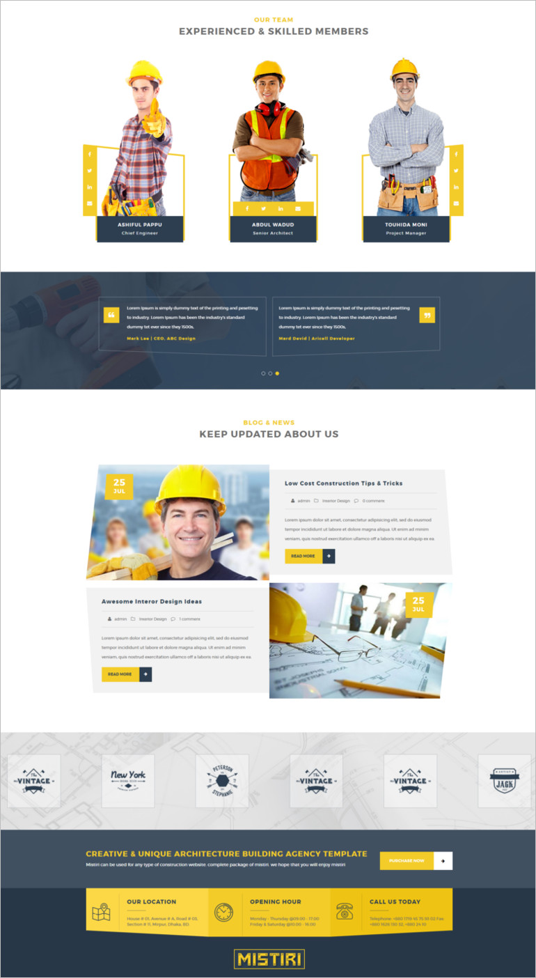 construction wordpress template