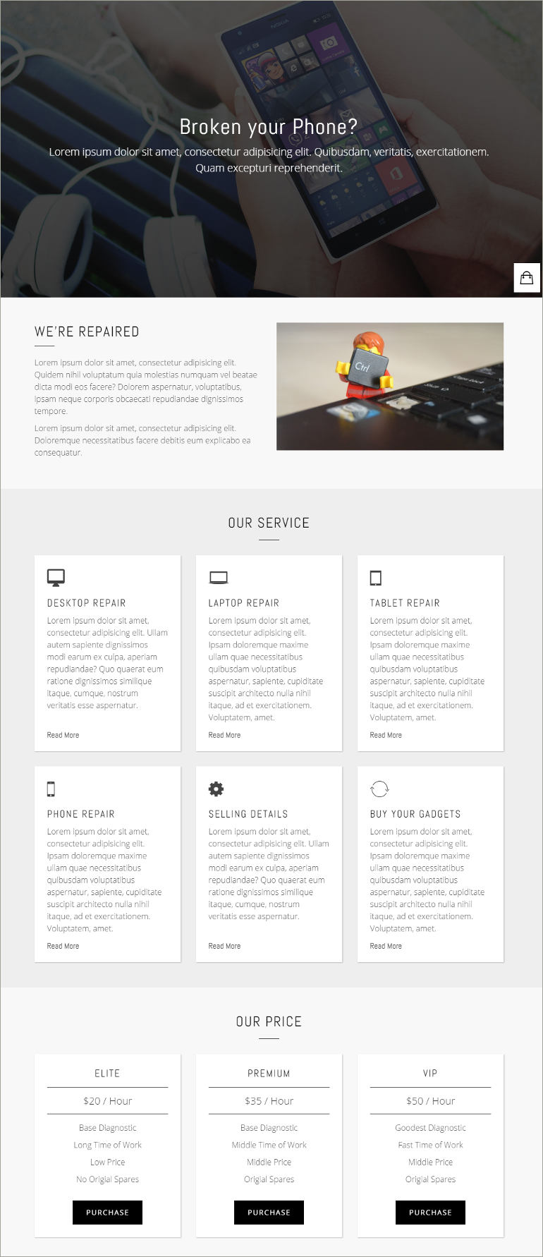 digital service shop website template