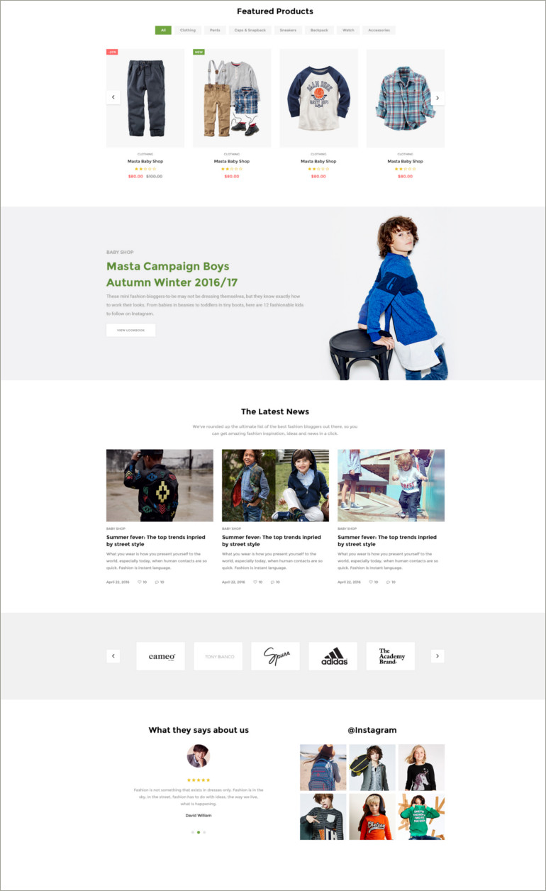 ecommerce baby shop website theme