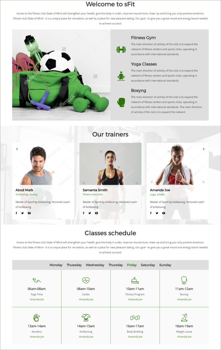 fitnes club site template