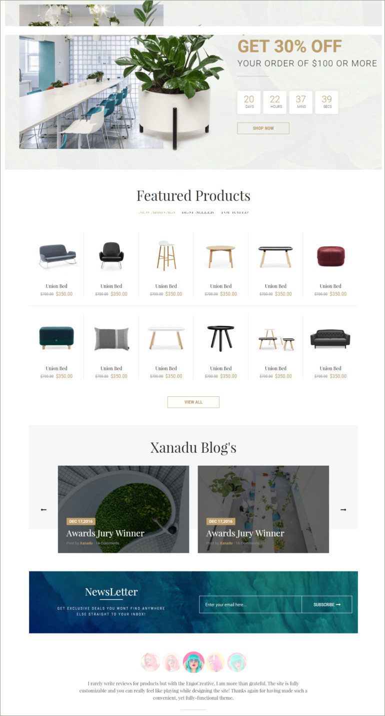 furniture ecommerce website theme
