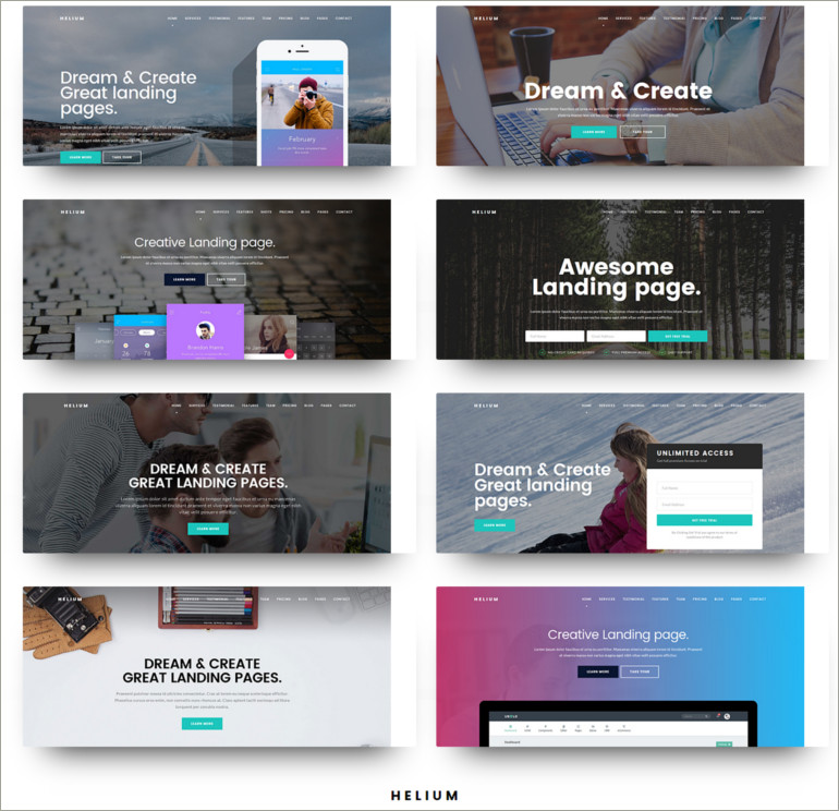 landing page muse template