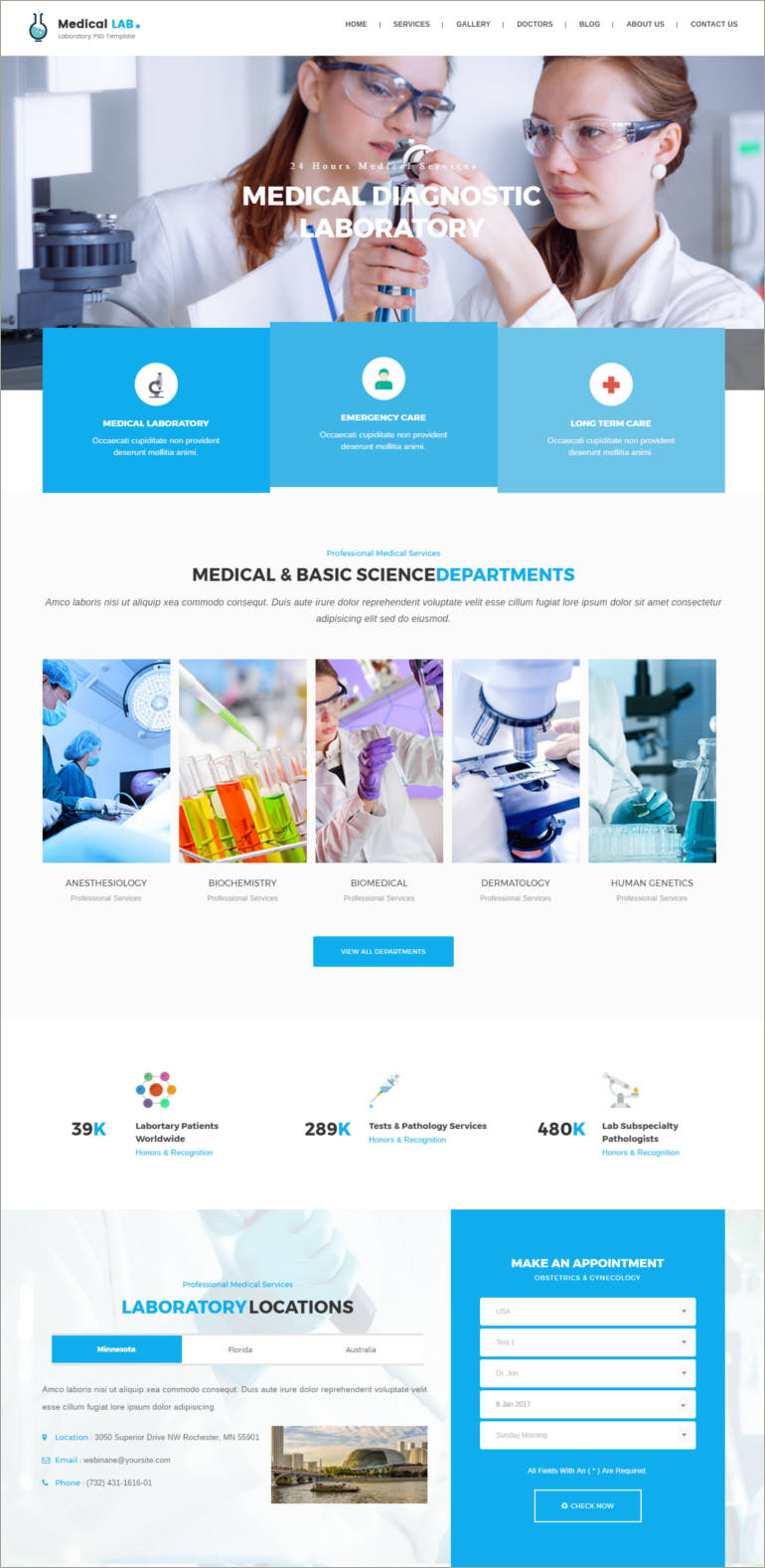 medical lab html theme