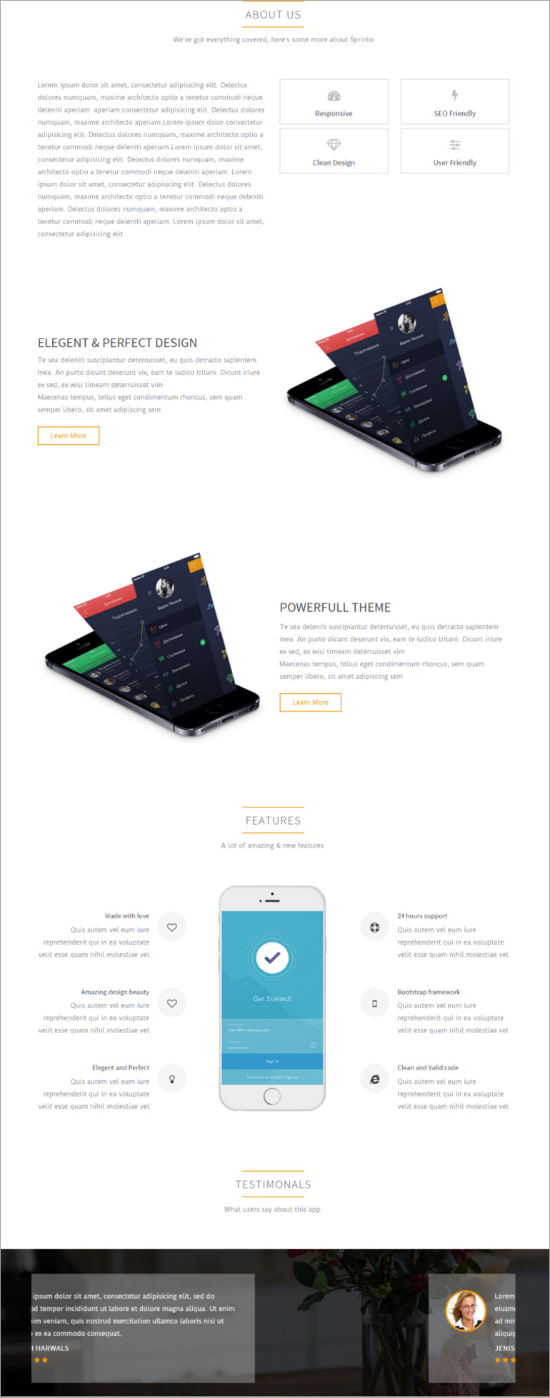 mobile apps landing page website template