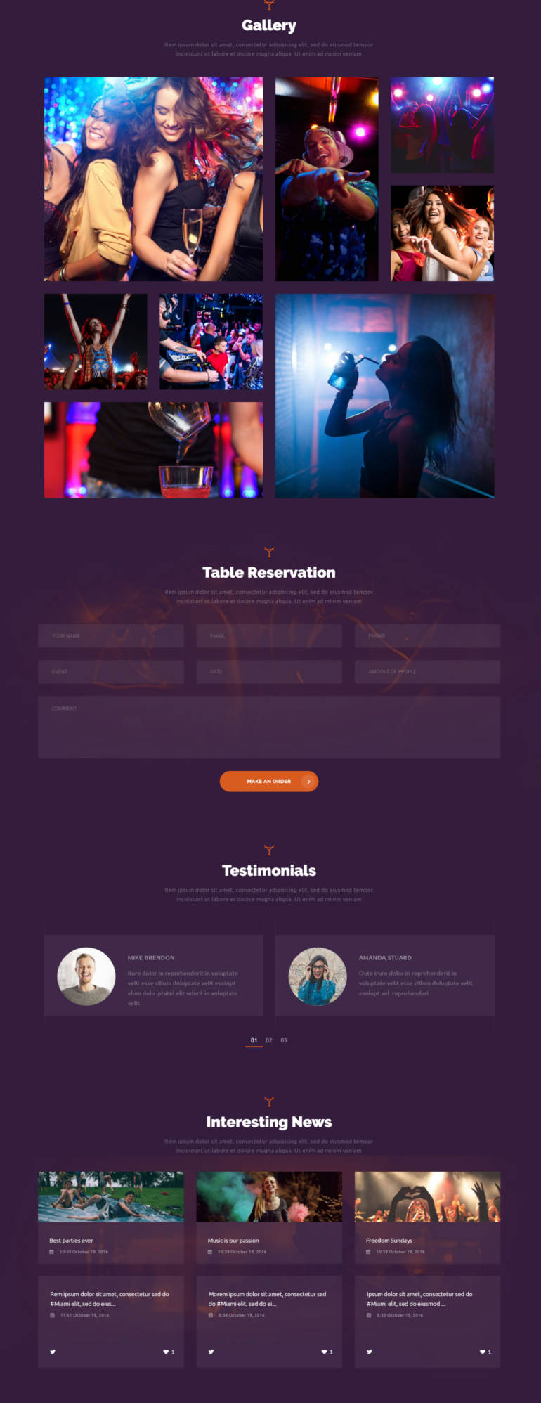 night club site template