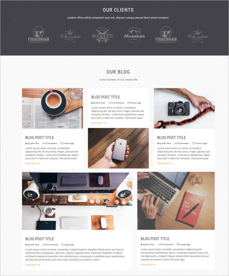 one page site theme