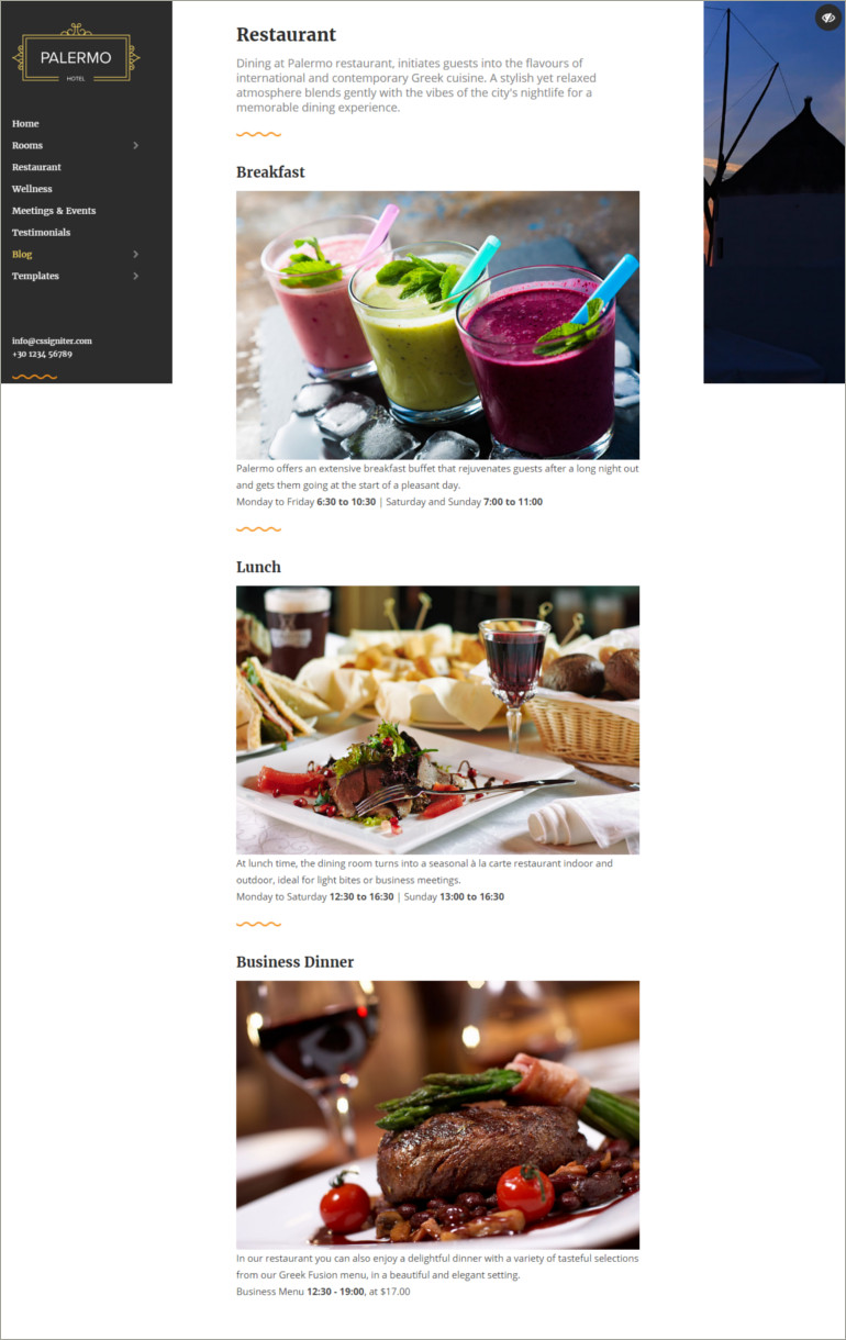 restaurant responsive website template