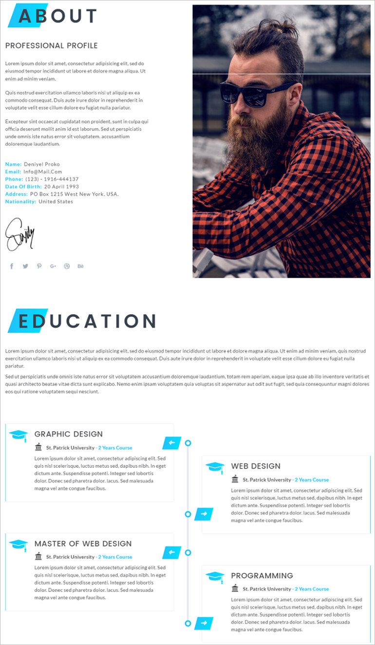 resume site template