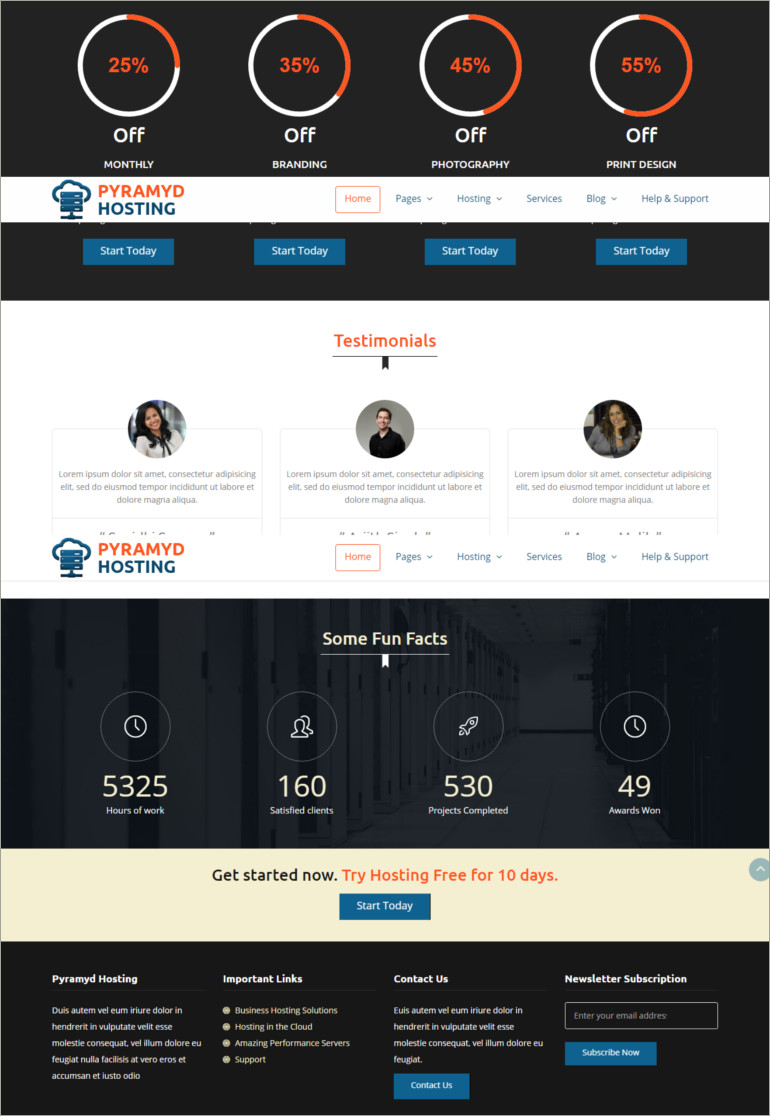 webhosting website template