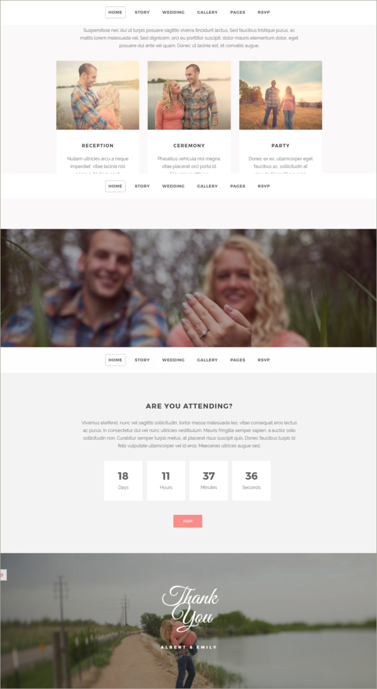 wedding site templates