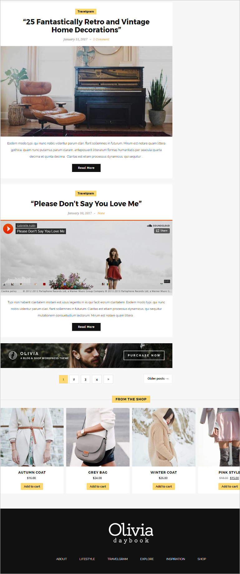 word press blog theme