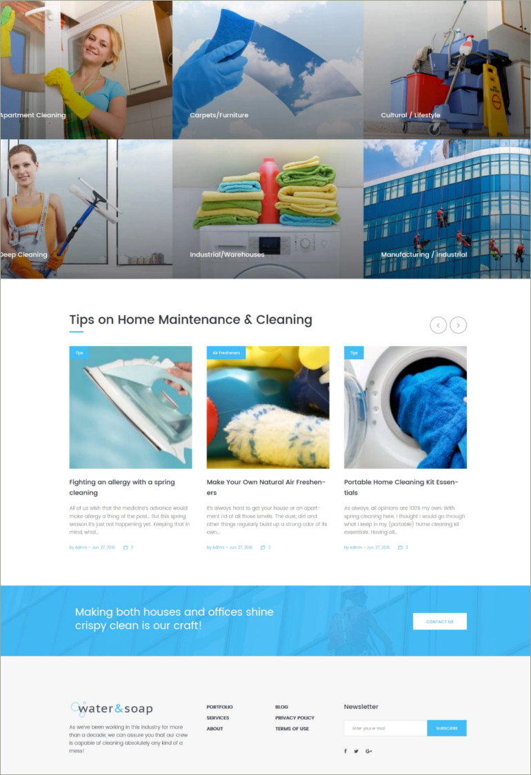 word press theme for cleaning service