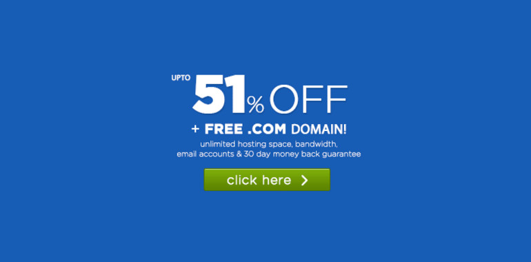 51% discount on .com domains