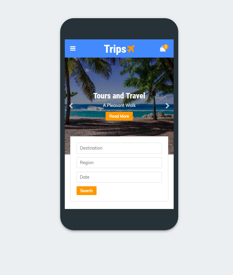 Modern Design Tours and Travel Mobile Template