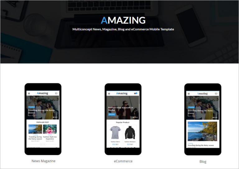 Multiconcept News, Magazine, Blog and eCommerce Mobile Template
