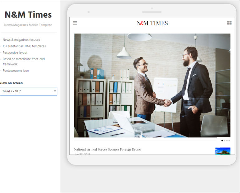 N&M Times - News Magazines Mobile Template
