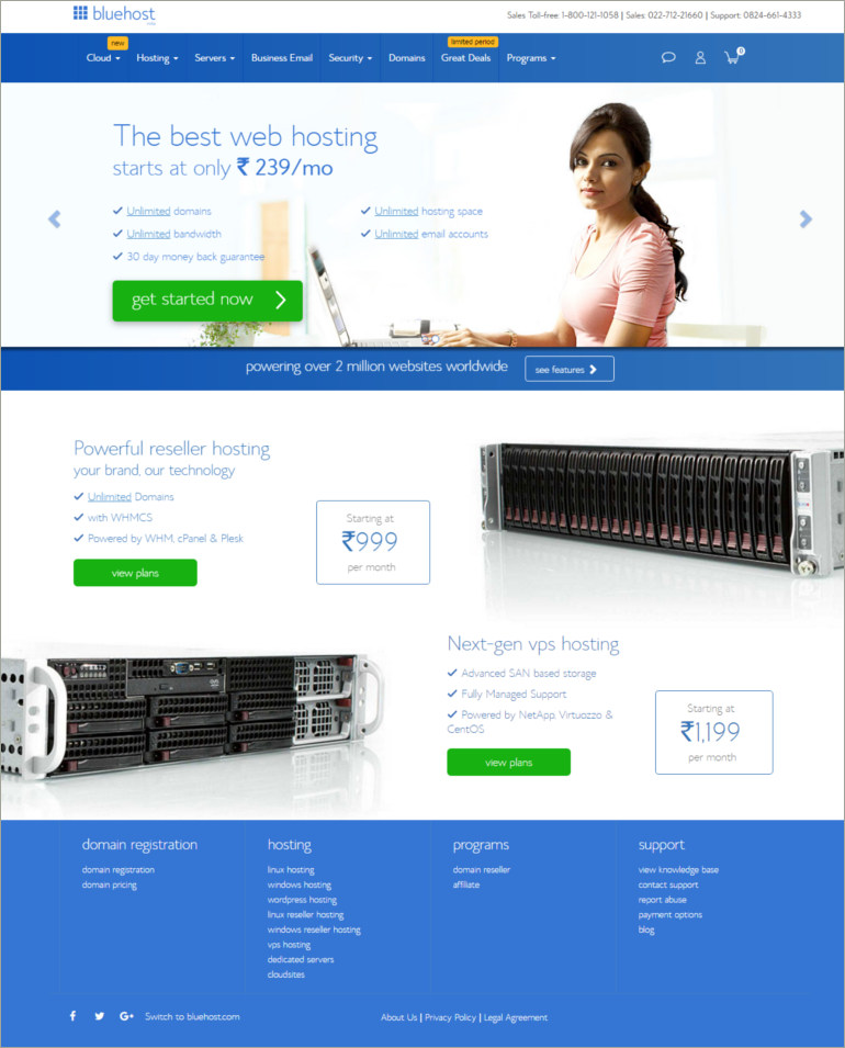 blue host web hosting domain