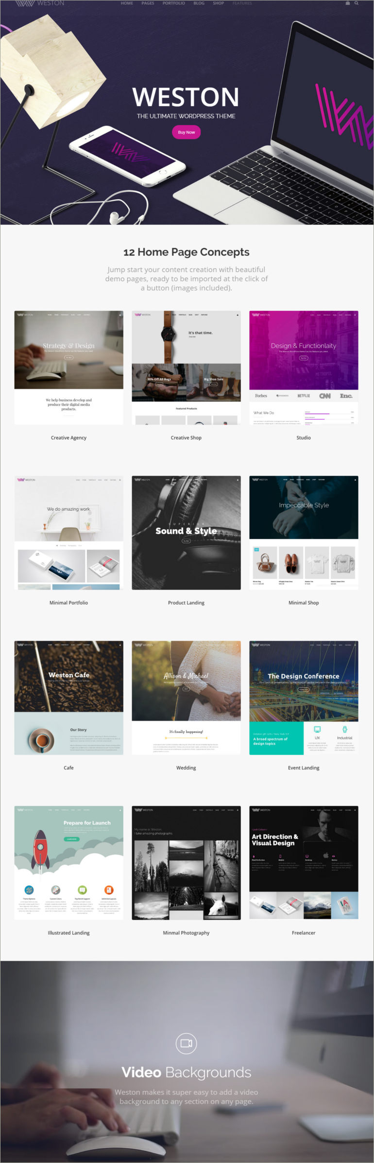 demo for sample wordpress themes
