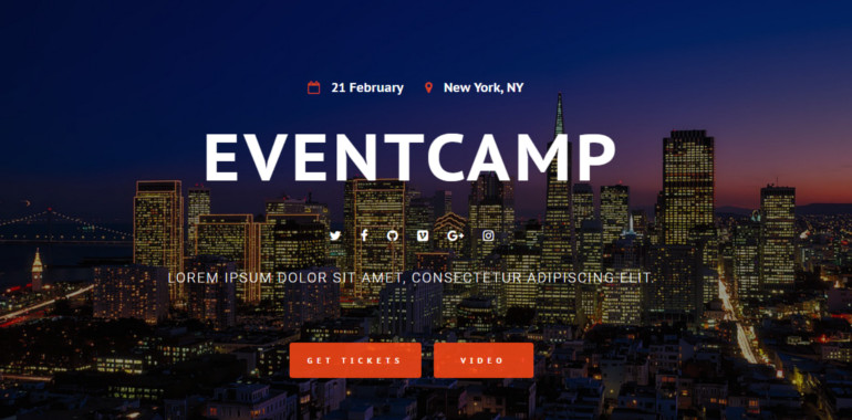 event camp website theme