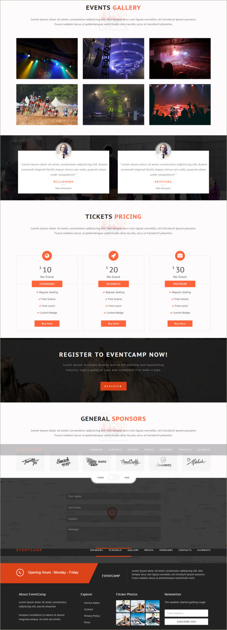 event & confernce website template