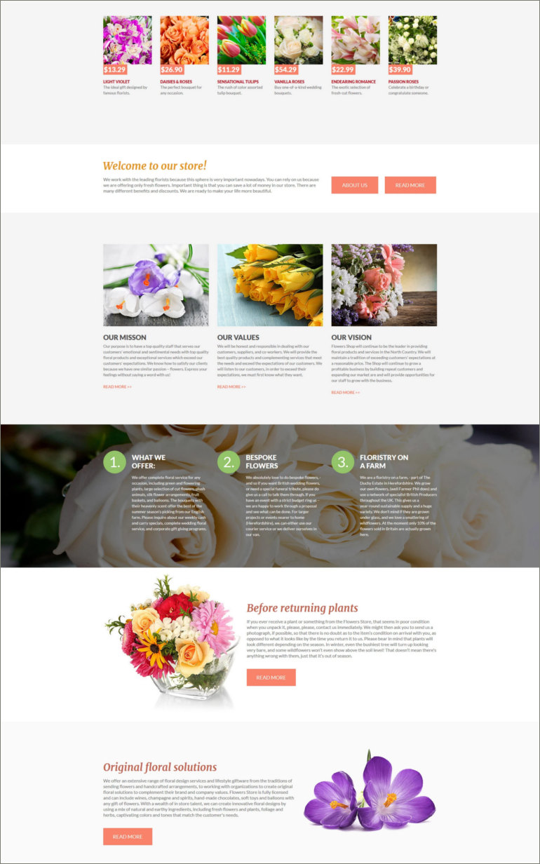 flower shop joomla theme