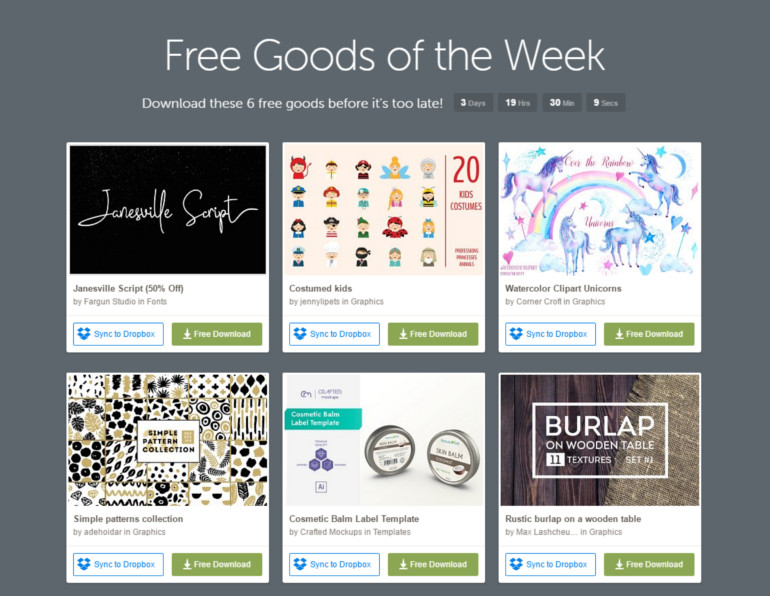 free designs from creative market