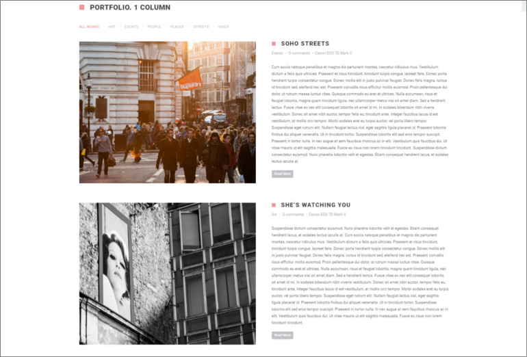html theme for photographers