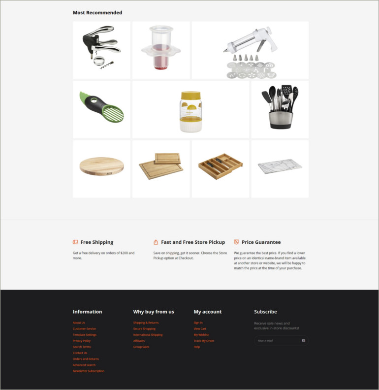kitchen website theme