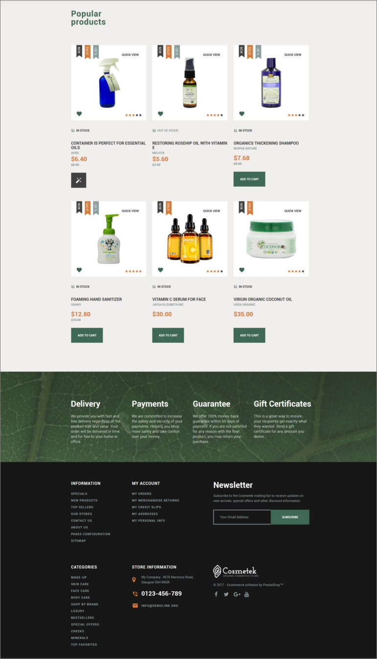 organic cosmetic shop website theme