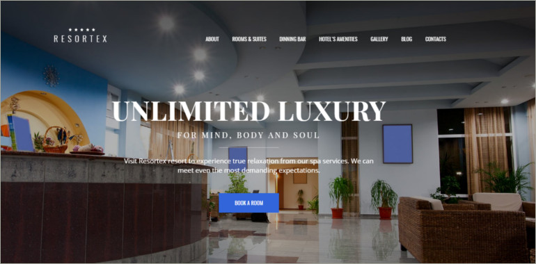 premium hotel website theme