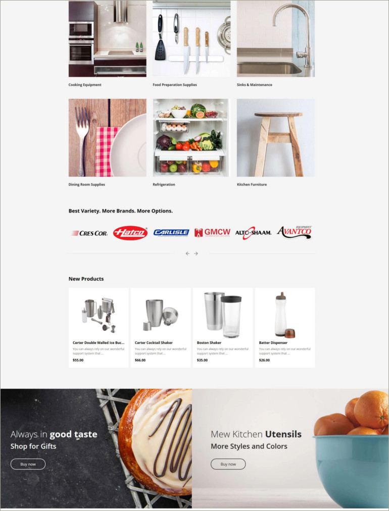 restaurent supply website theme