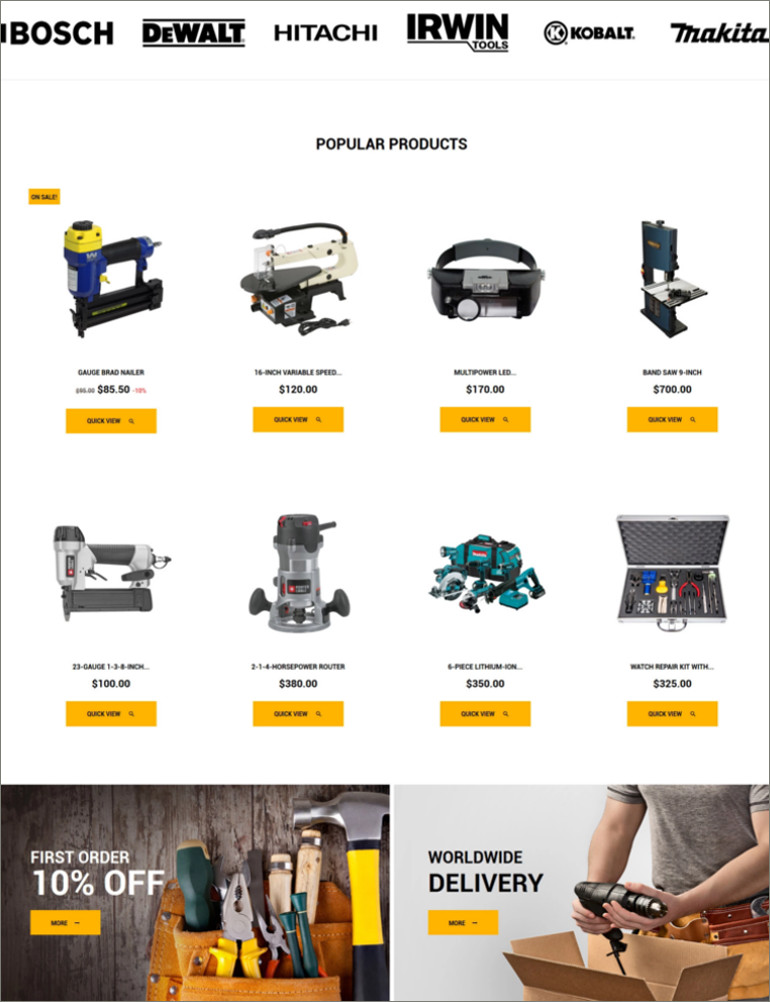 tool shop ecommerce theme