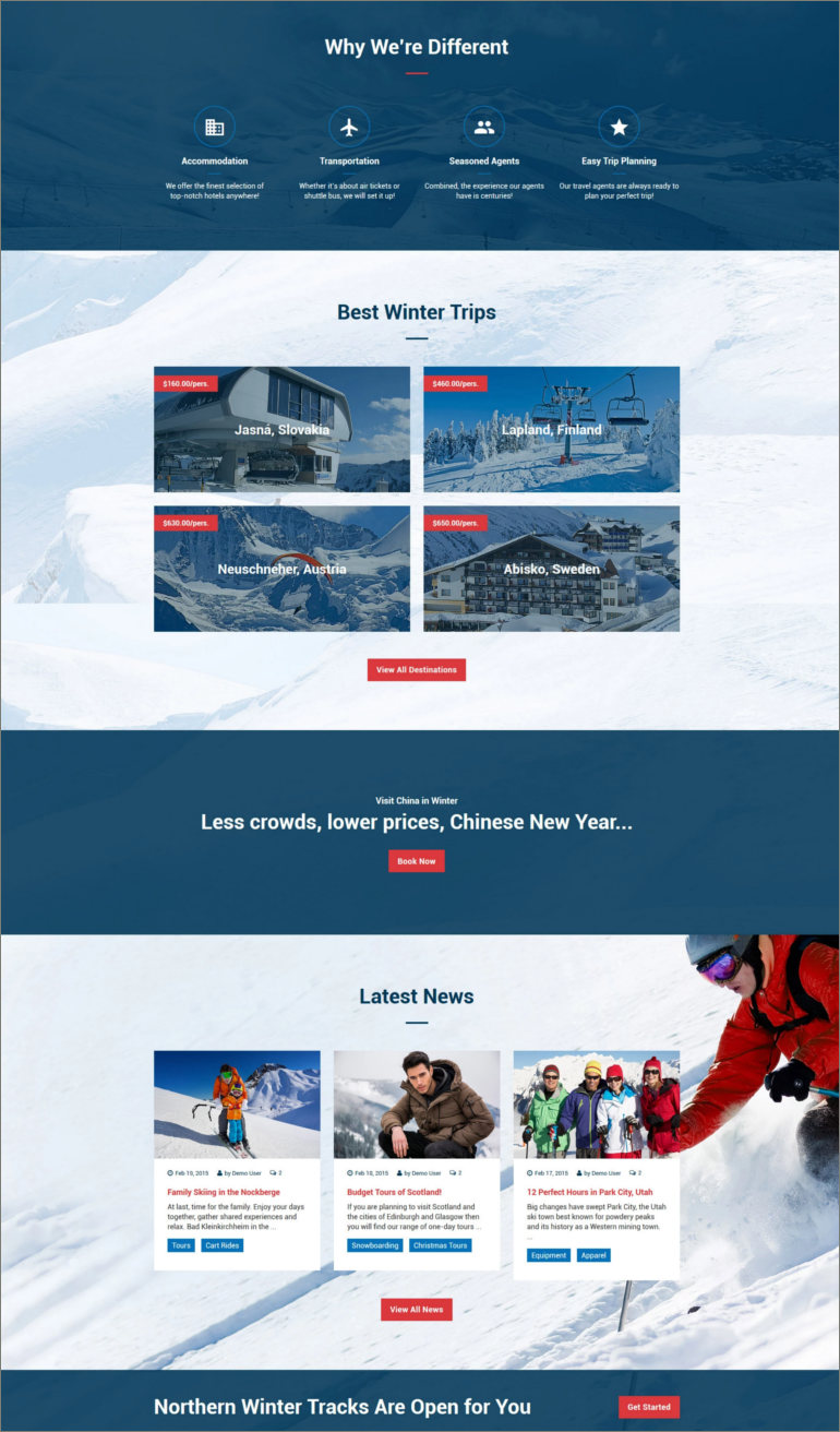 travel agency website theme
