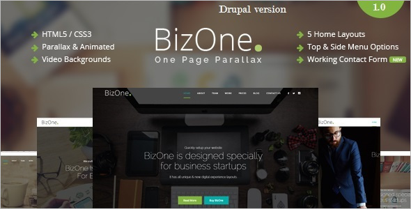 One Page Parallax Drupal Theme