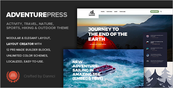Adventurous Travel WordPress Theme