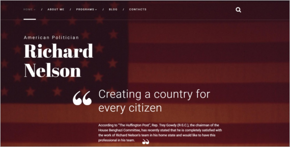 American Politician Bootstrap Template