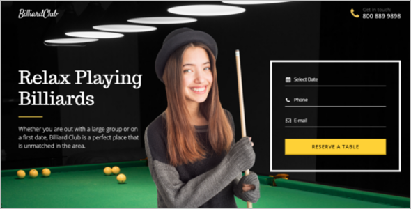 Billiards Landing Page Template