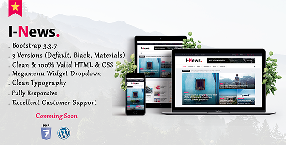 Bootstrap Magazine Blog Template