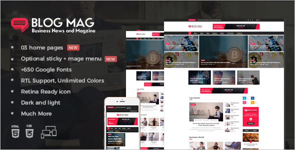 Corporate Magazine Bootstrap Template