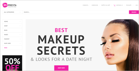 Cosmetic PrestaShop Theme