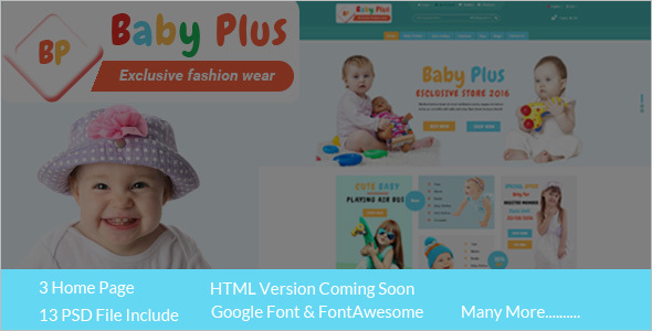 Kids Ecommerce HTML Website Template