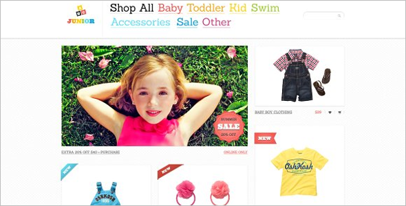 Kids Wear eCommerce Zen Cart Theme